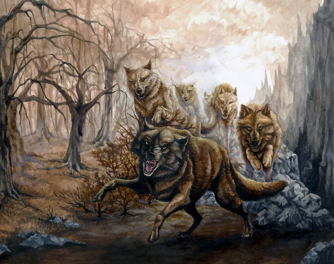 painting of wolf pack by rebecca magar