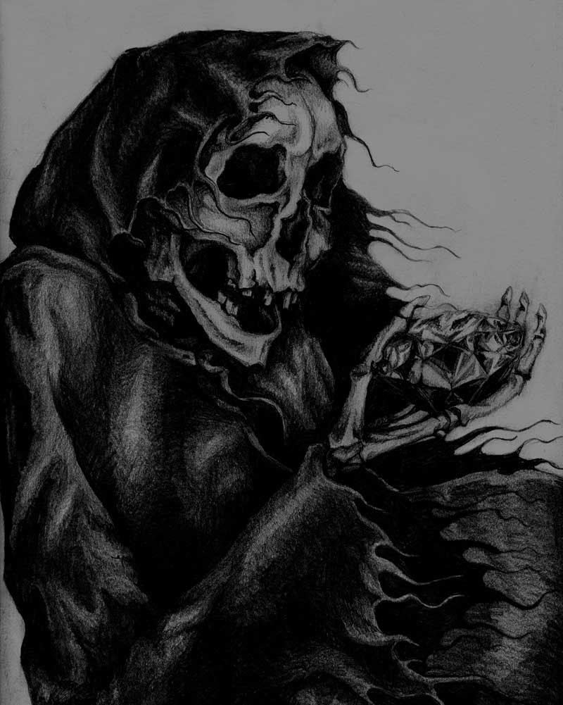Drawing of a skeleton holding a diamond by Rebecca Magar