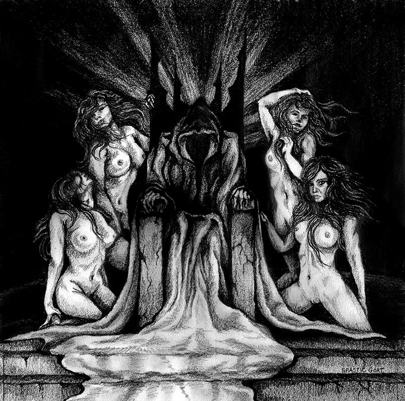 Drawing of and evil king on a throne surrounded by nude women by Rebecca Magar
