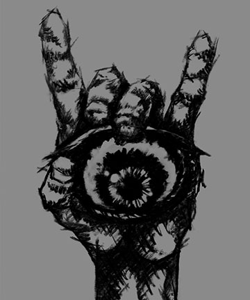 Drawing of the sign of the horns holding an eye by Rebecca Magar