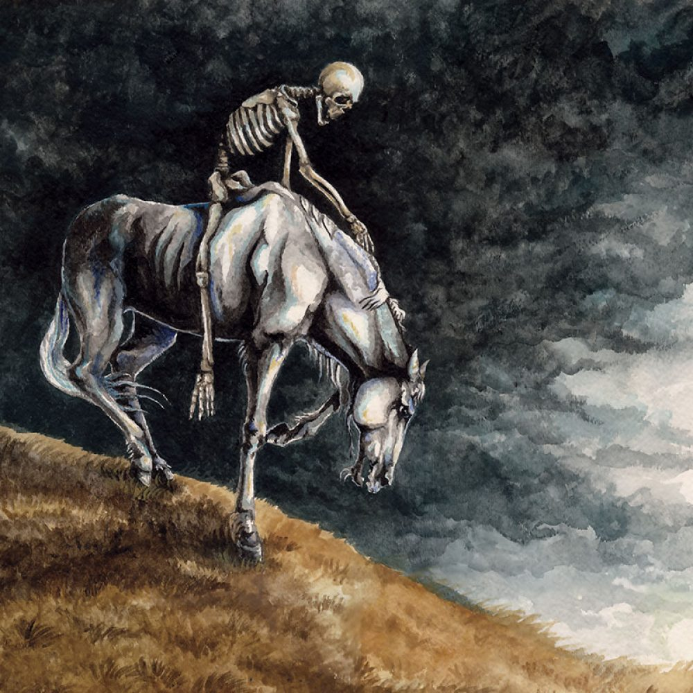 Painting of a Skeleton Riding a Horse by Rebecca Magar