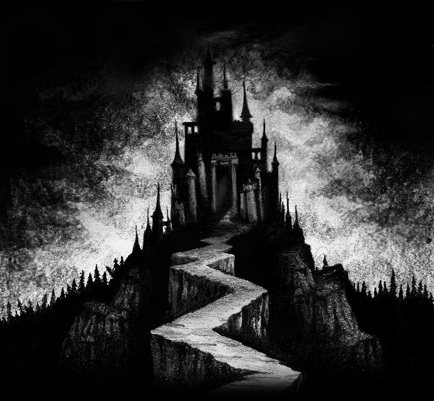 Drawing of a black vampire castle on a mountain by Rebecca Magar