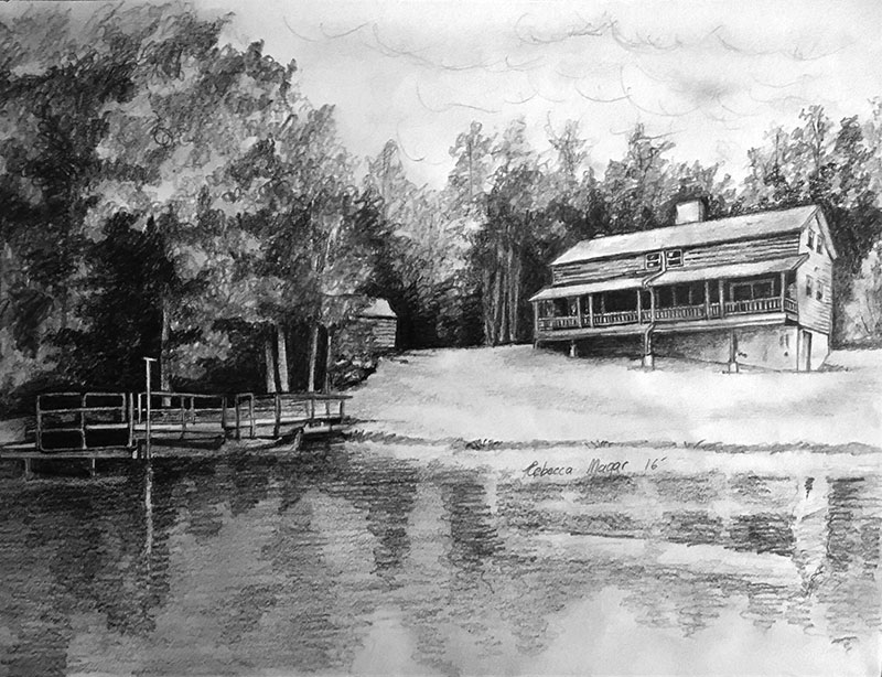 Sketch of cabin for upcoming painting of a cabin by the lake