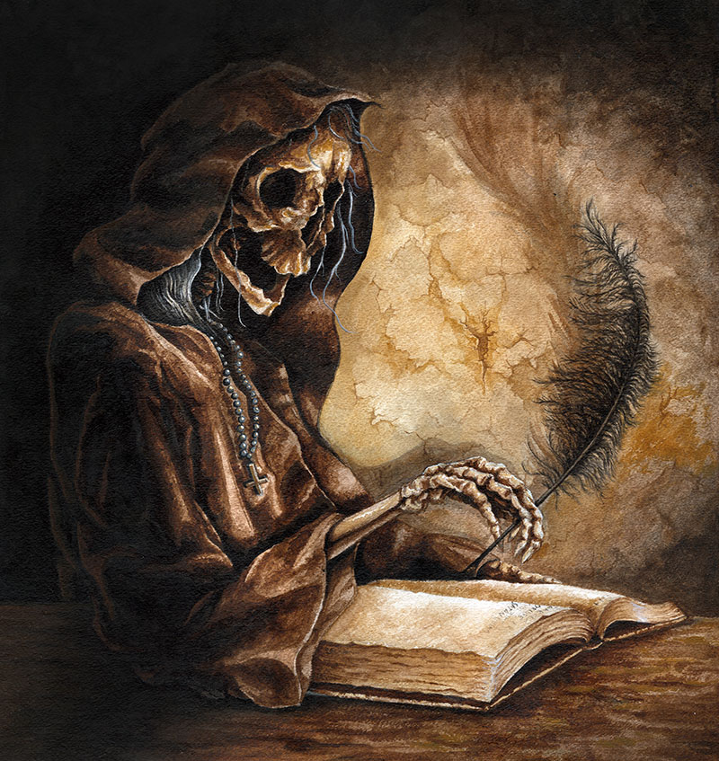 Painting of a Skeleton Monk Writing with a Feather Pen by Rebecca Magar