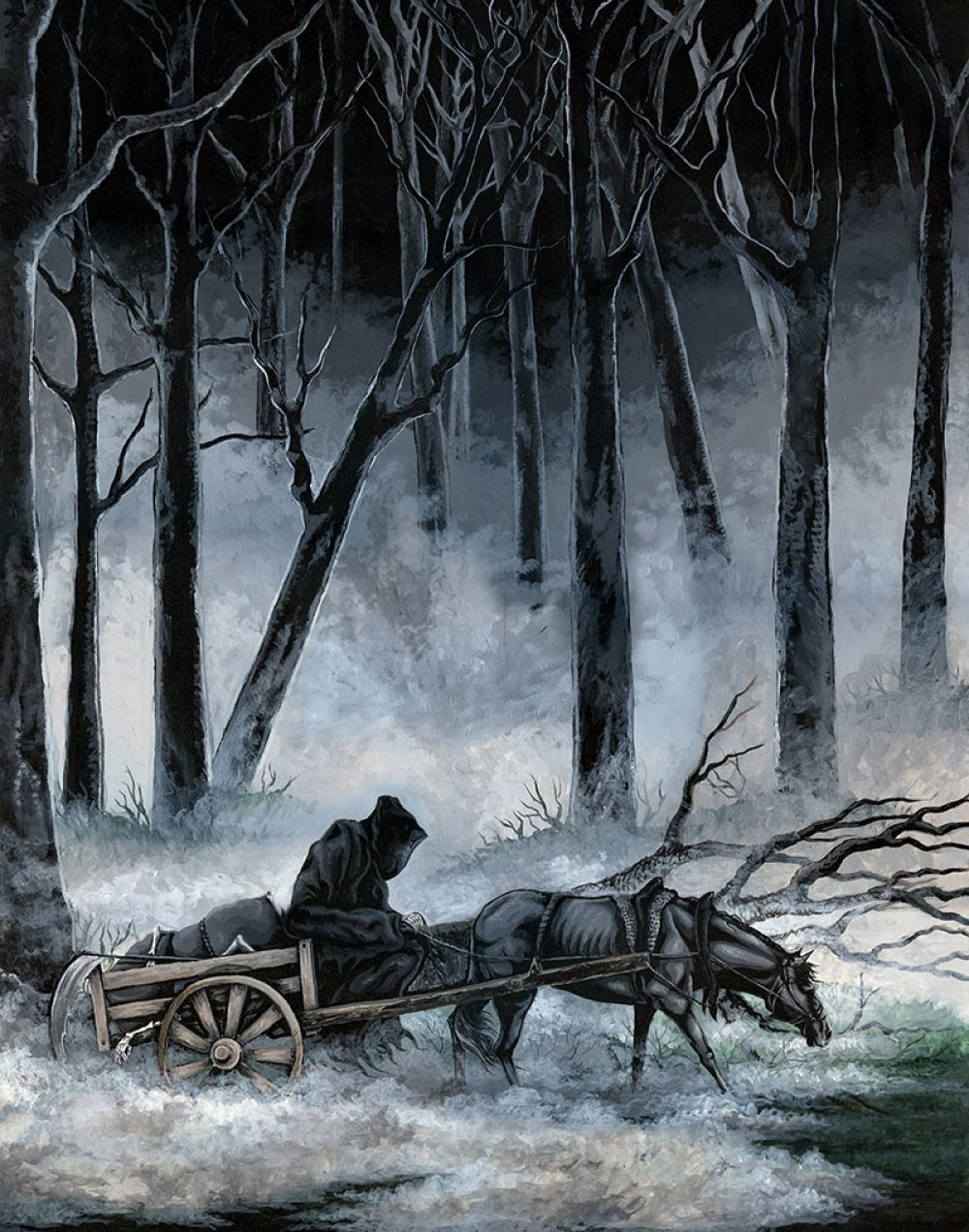 Painting of a grim reaper collecting bones with his horse and cart by Rebecca Magar