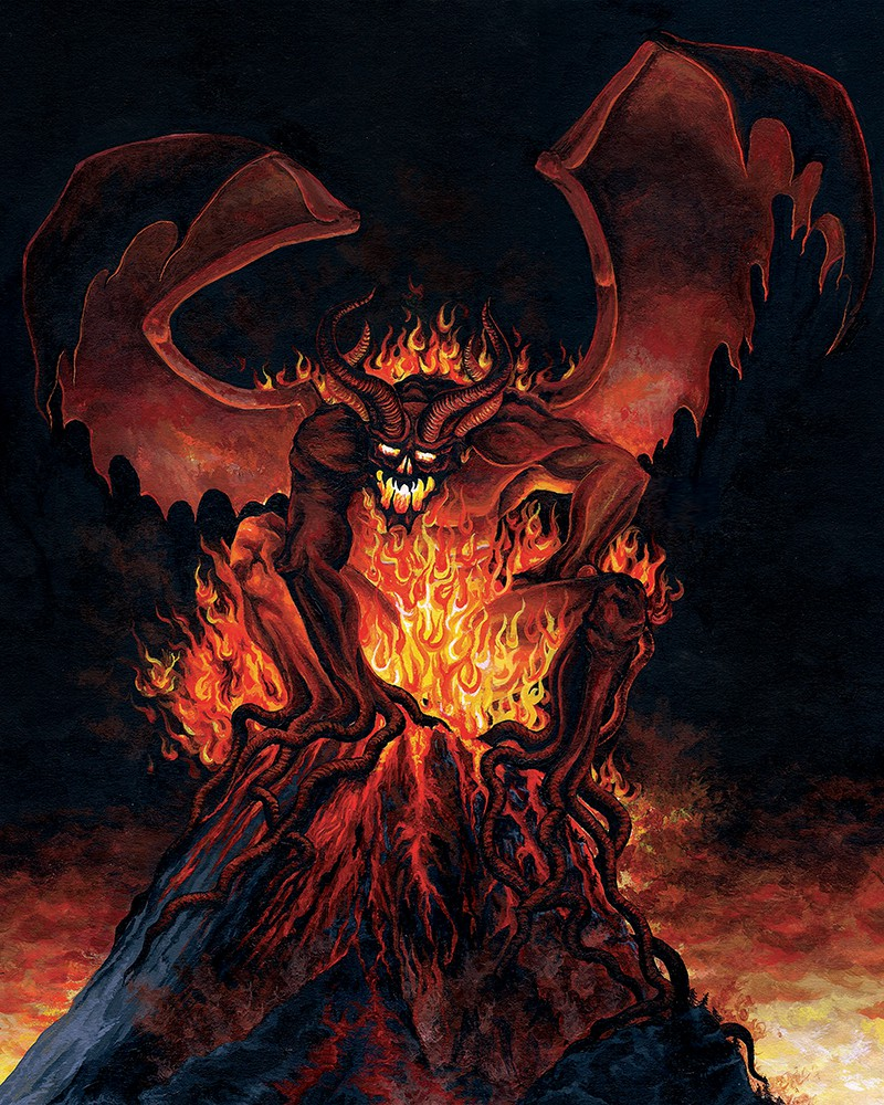 Painting of typhon - an evil monster on top of a burning volcano by Rebecca Magar