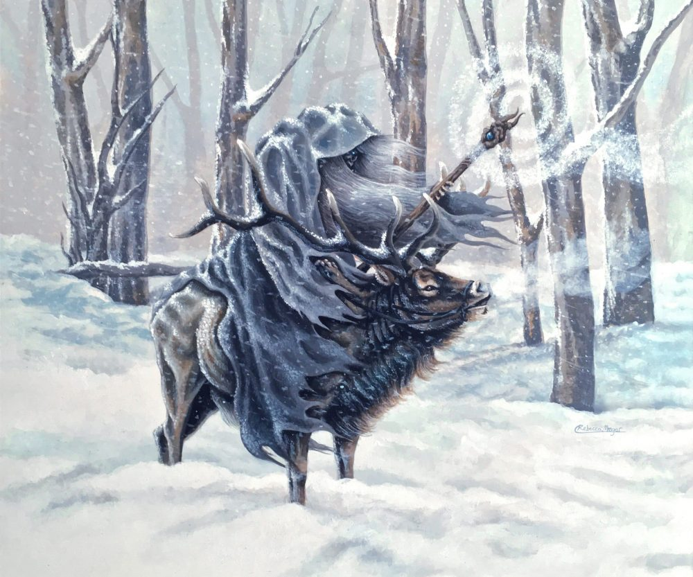 Blue Wizard - Painting of a Wizard in the Snow, Riding an Elk by Rebecca Magar