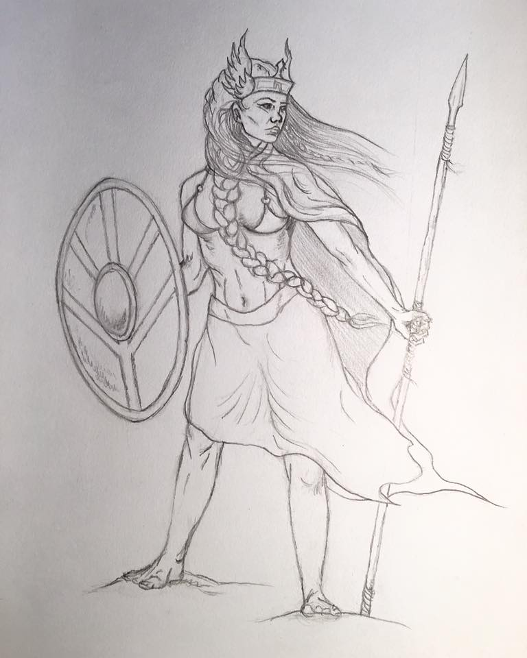 Geirskögul valkyrie sketch - Work in Progress by Rebecca Magar