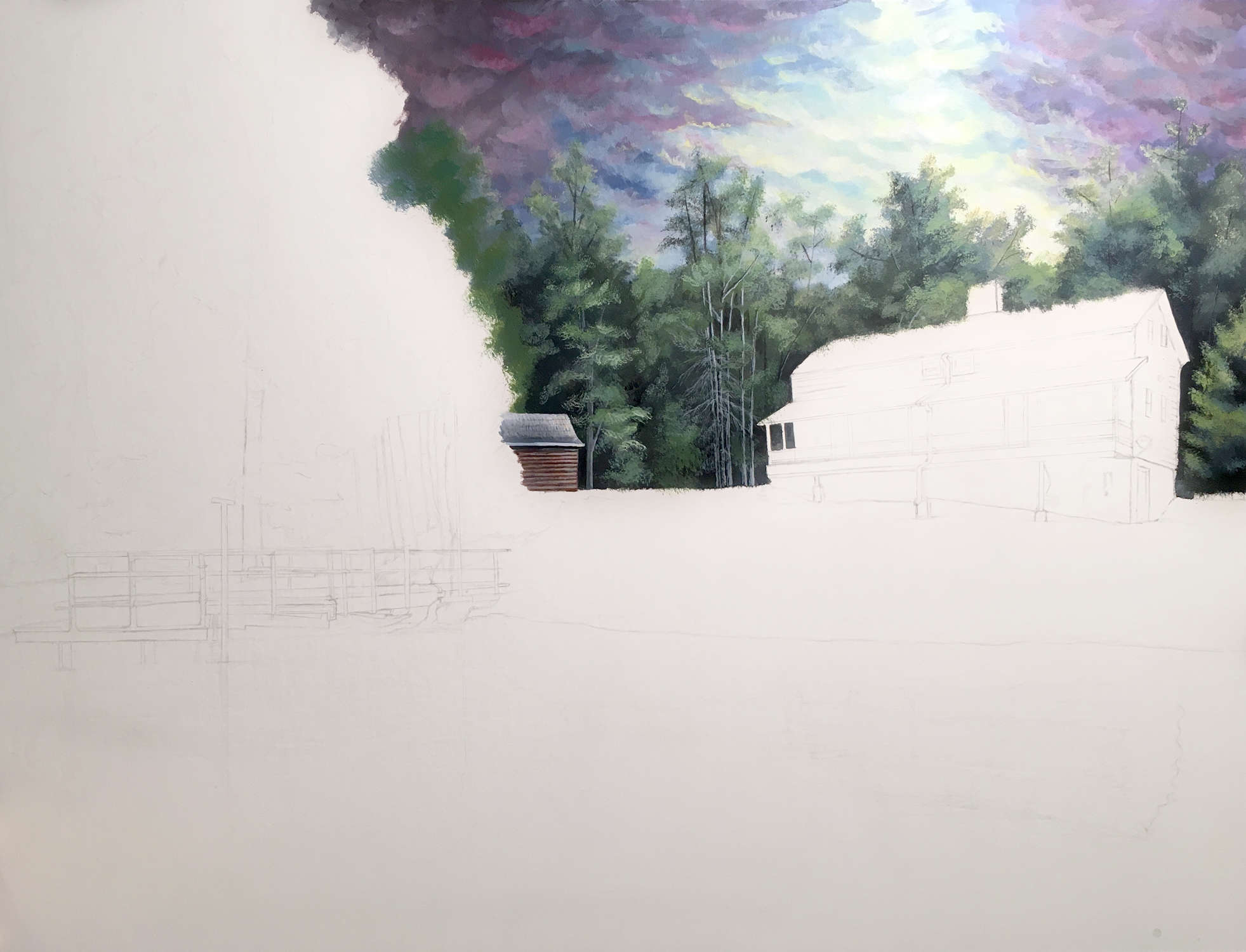 Cabin Painting in Progress - Rebecca Magar