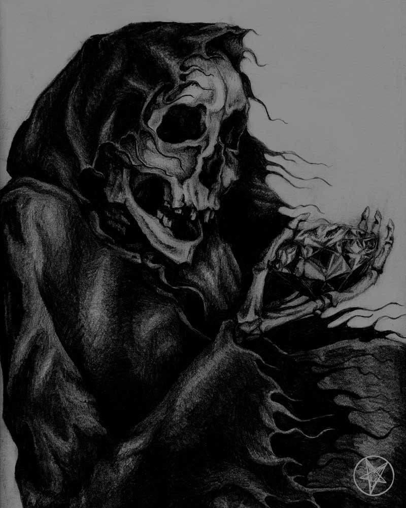 Death Diamond - Drawing of a Skeleton Holding a Diamond