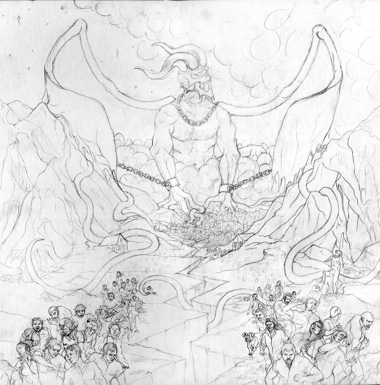 Wrath of Typhon Kingdom of Fear Sketch in Progress