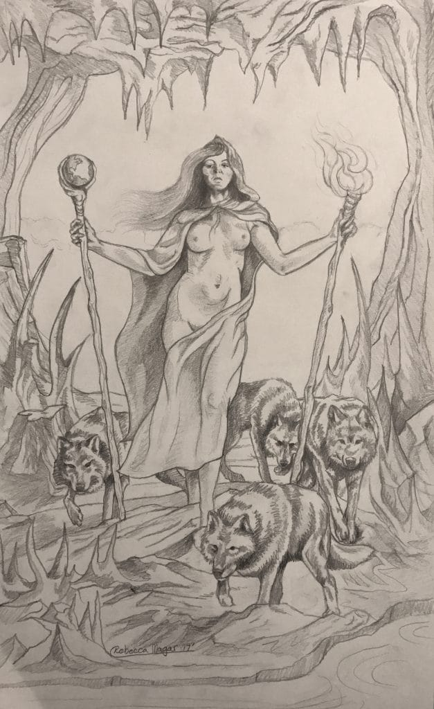 Two of Wands Sketch - Drawing by Rebecca Magar