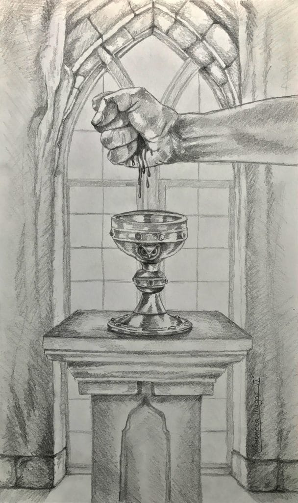 Ace of Cups Tarot Sketch by Rebecca Magar