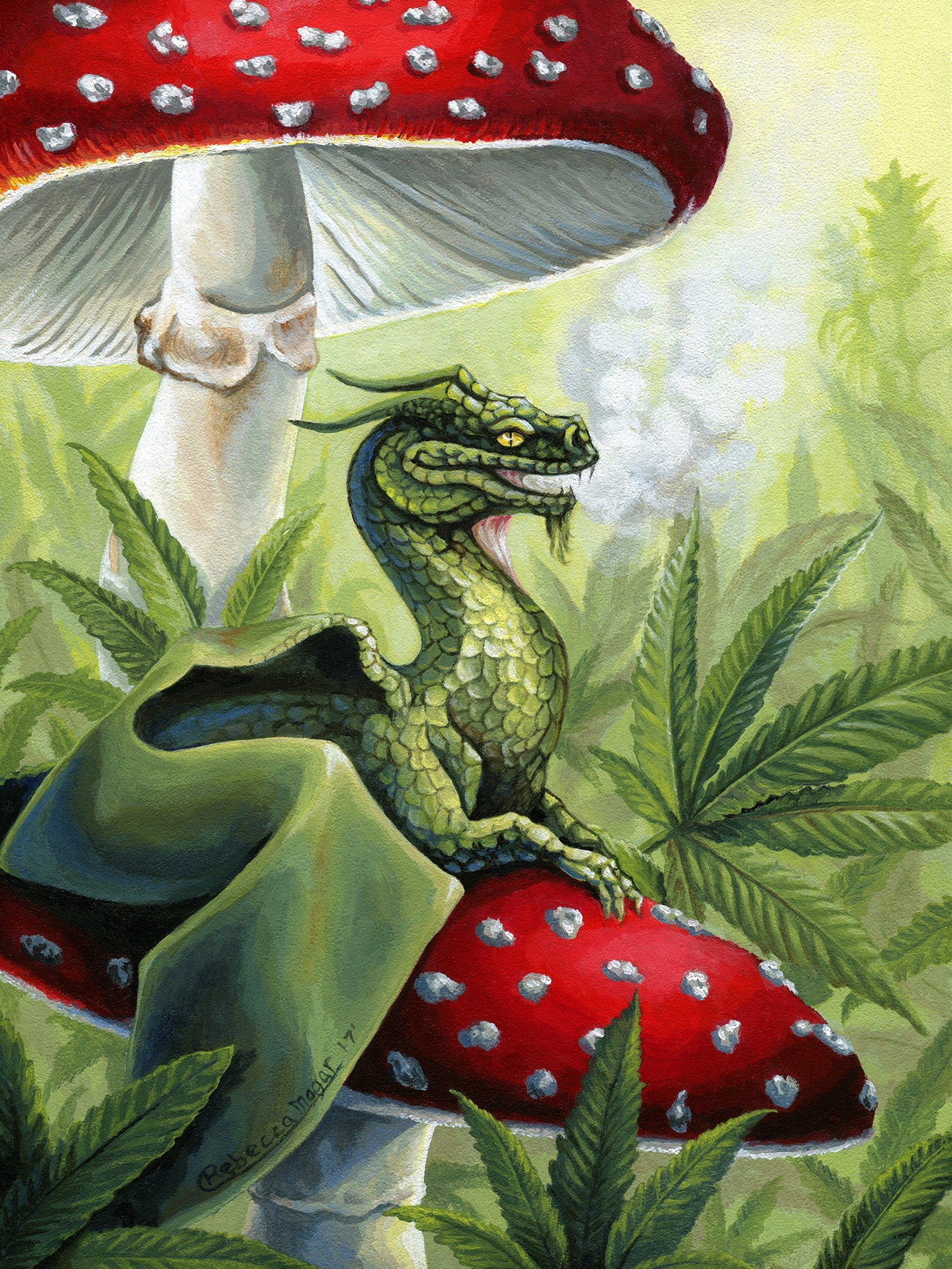 Green Dragon Sitting on Toadstools with Cannabis by Rebecca Magar