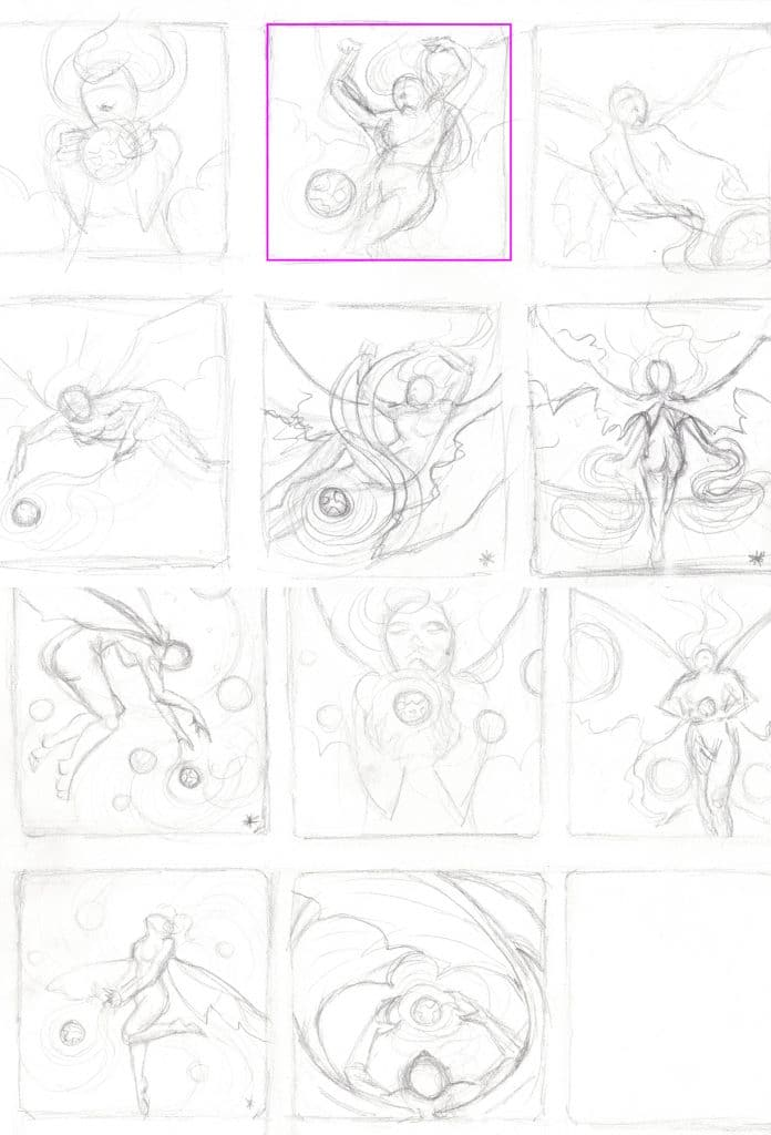 Composition Sketches by Rebecca Magar - Wailing Wizard Art