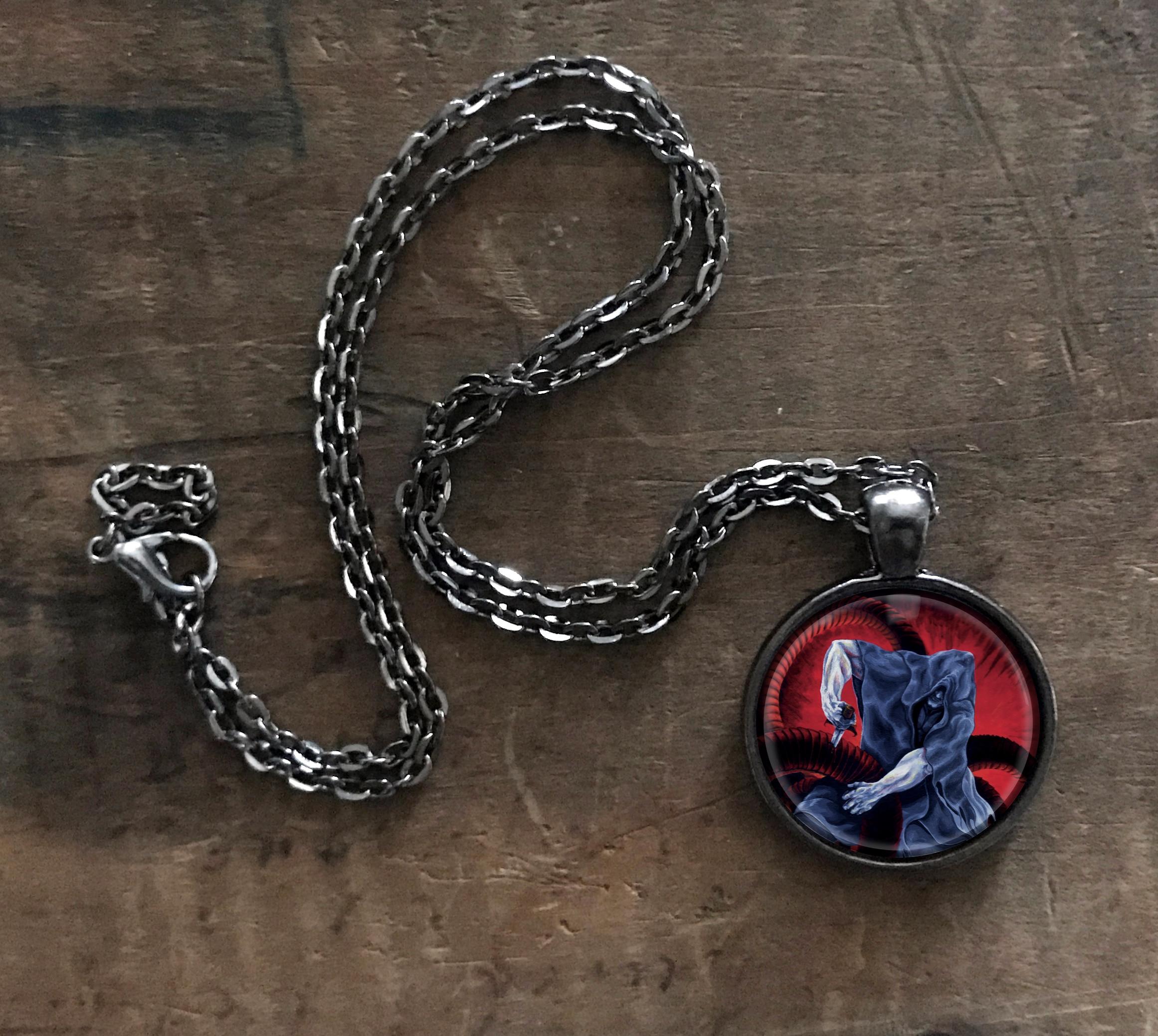 Hero Battling Serpent Pendant Necklace