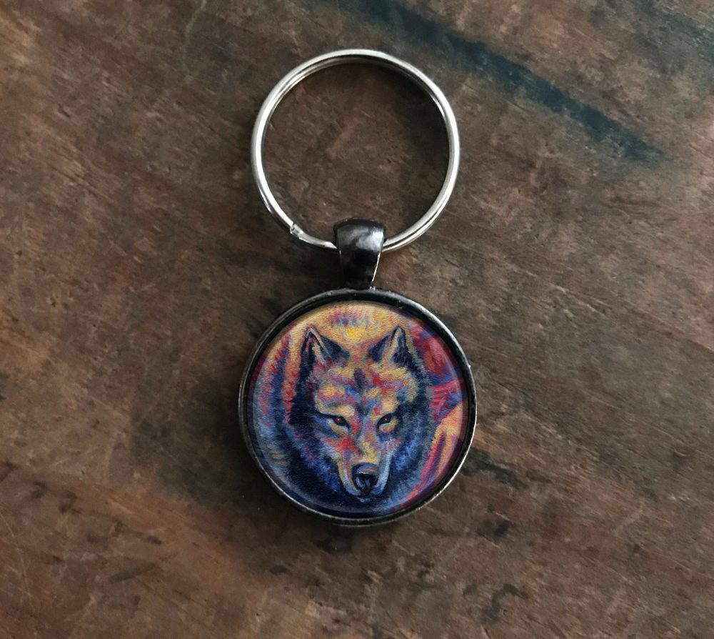 Colorful Wolf Keychain
