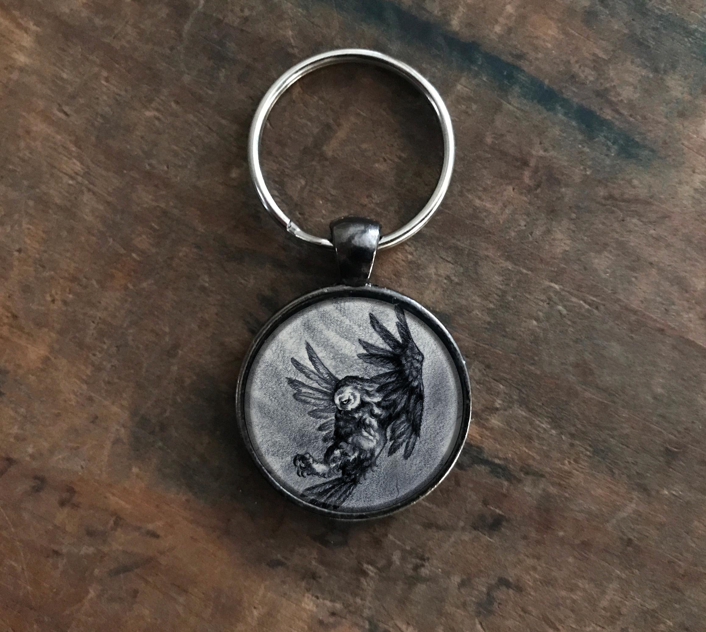 Gray Owl Keychain