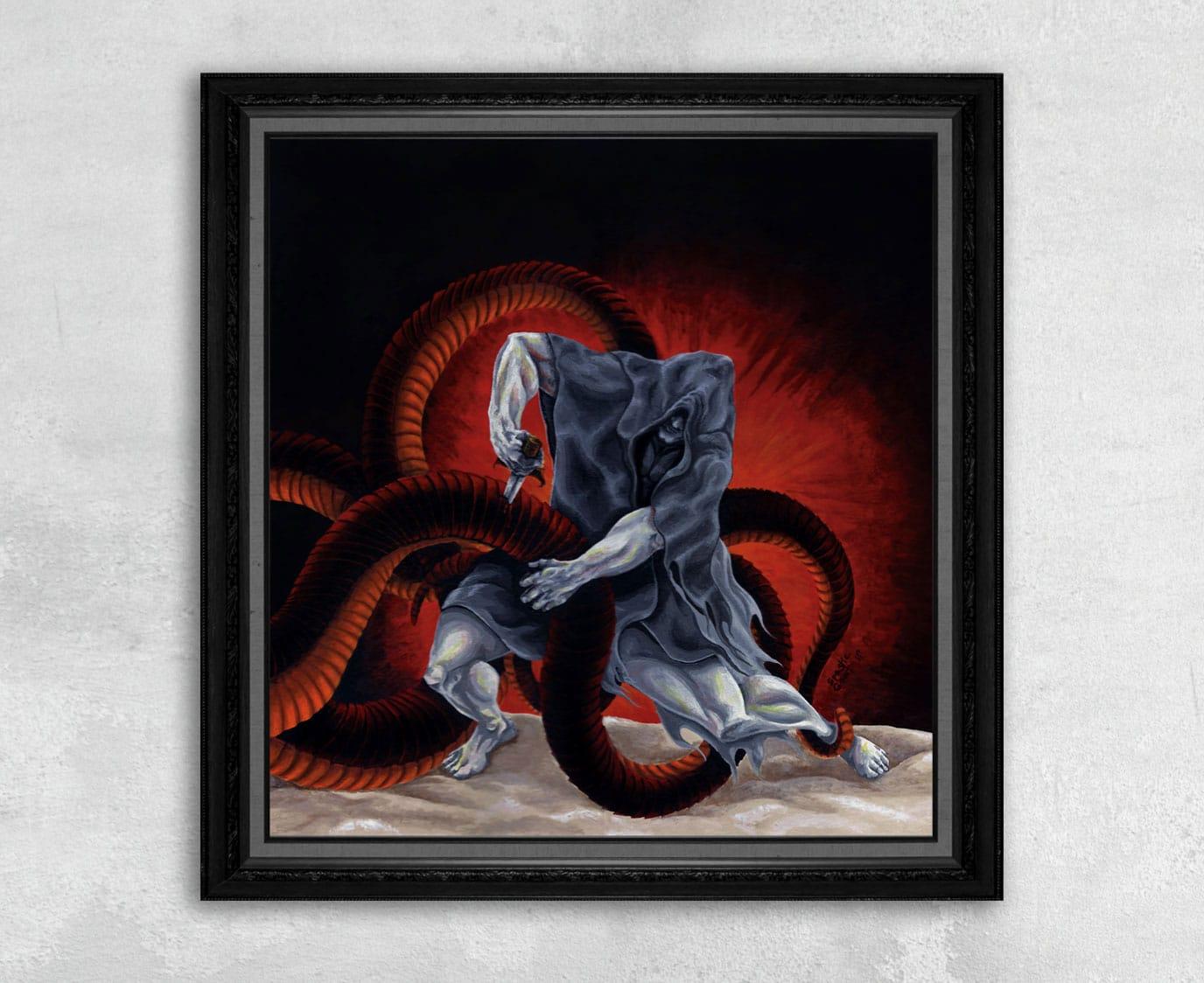 Avenger - Comic Style Print of a Hero Battling a Serpent