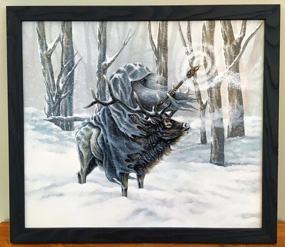 Blue Wizard - Painting of a Winter Wizard by Rebecca Magar