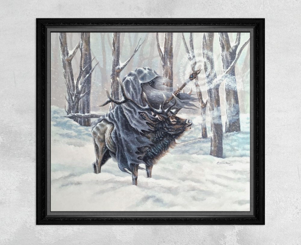 Print of a Winter Wizard Riding an Elk in the Snow by Rebecca Magar