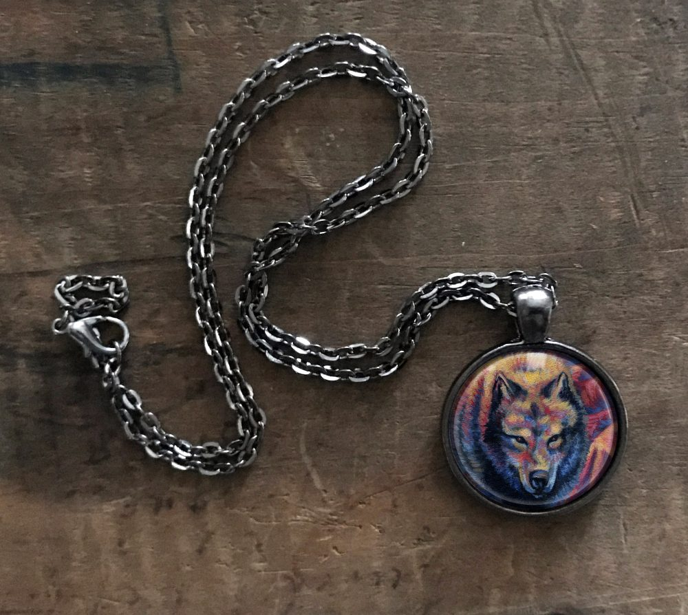 Rainbow Wolf Necklace
