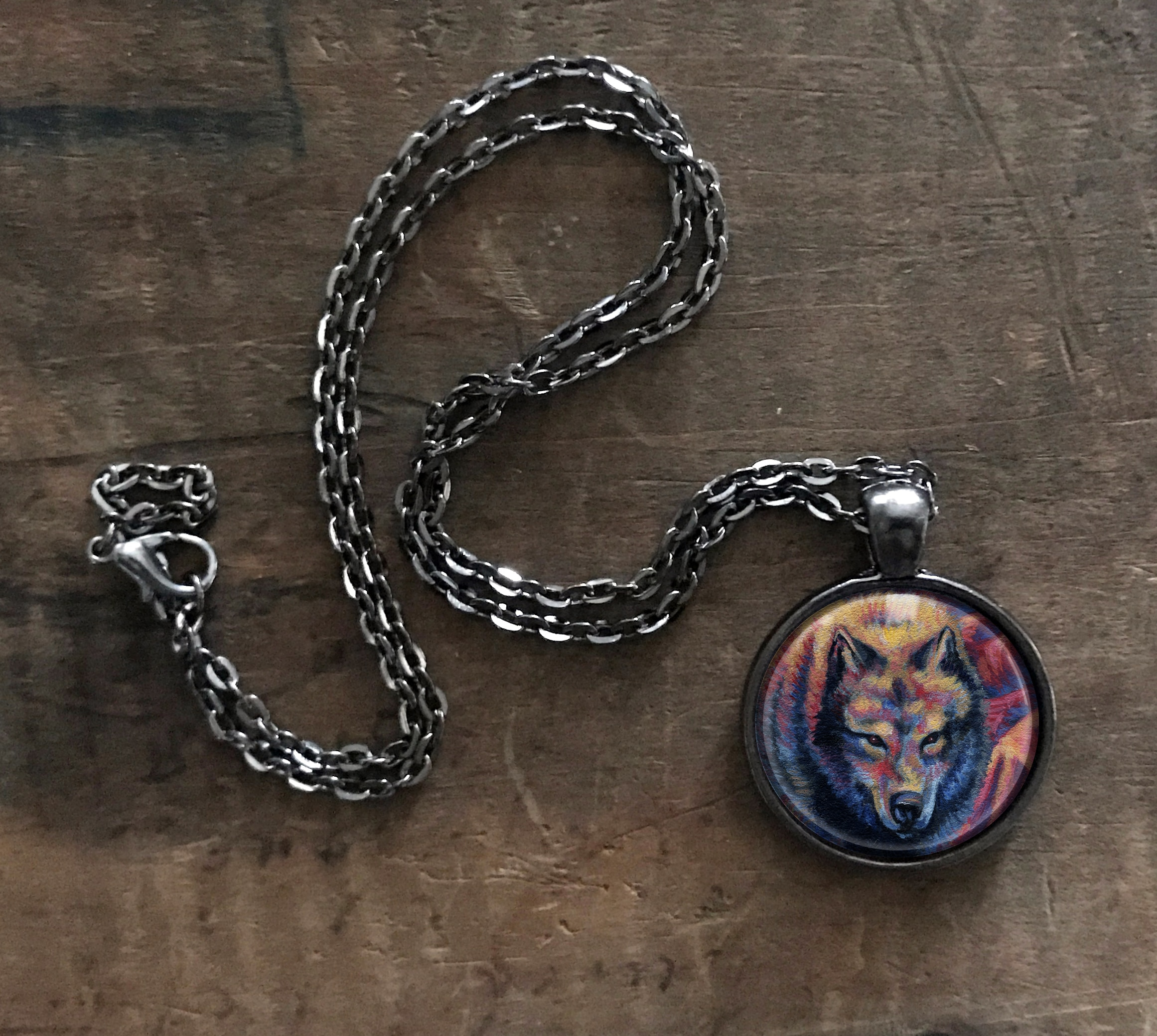 heads pendant chain wolf kings with necklace viking merch head products