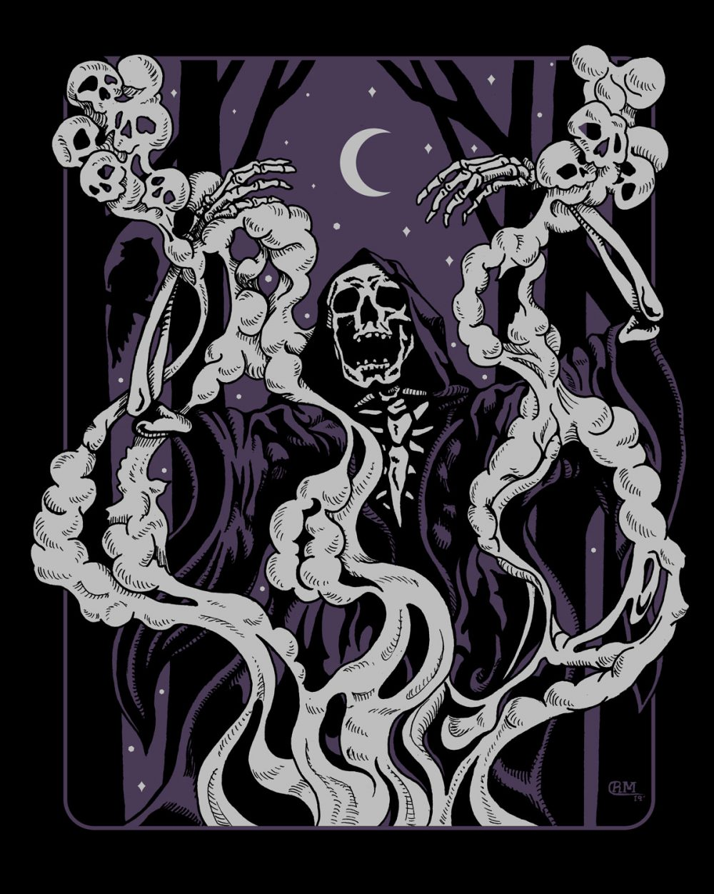 Conjuring - Skeleton Summoning Spirits in Smoke - T-Shirt Design
