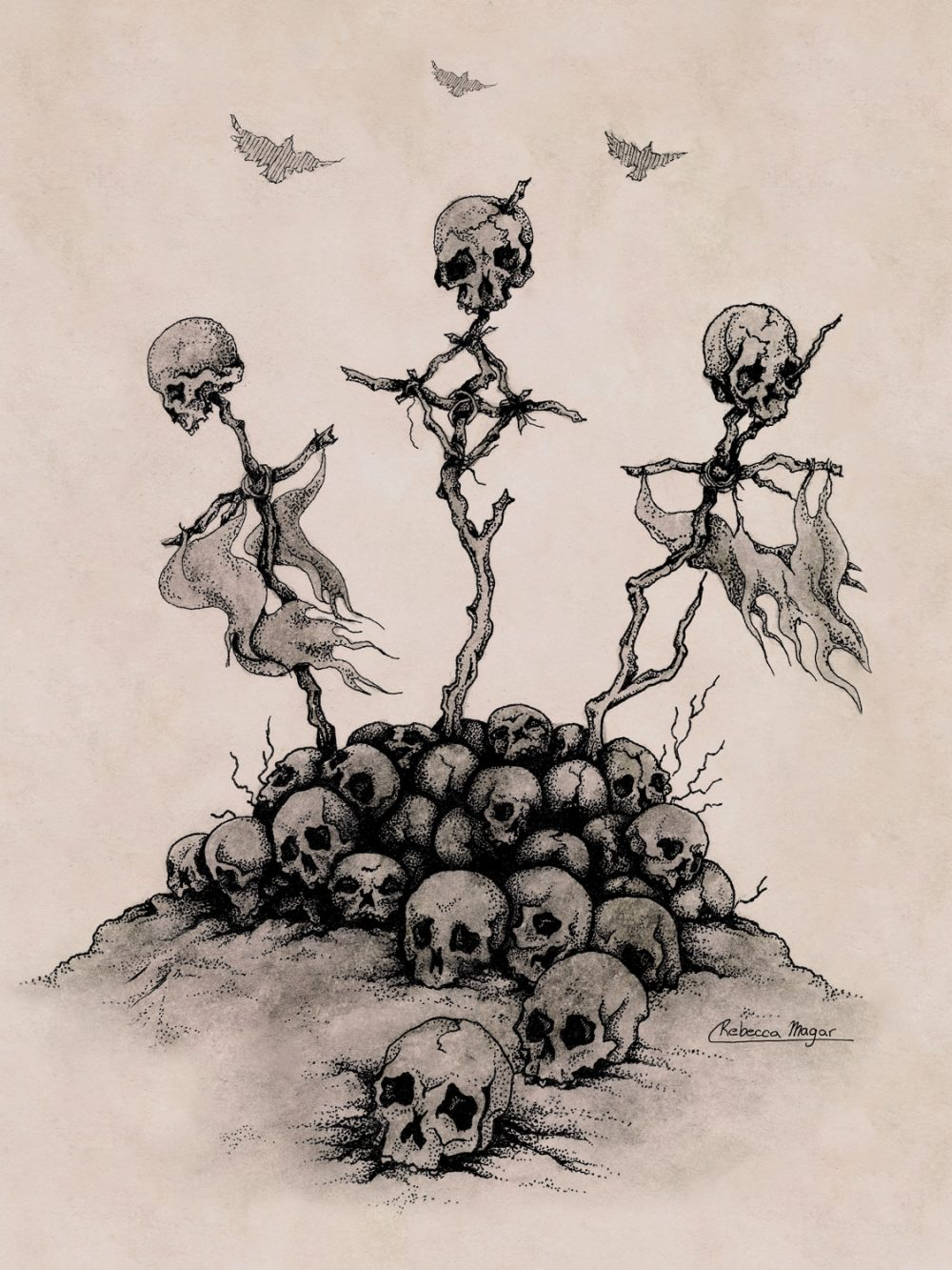 Drawing of skulls on crosses by Rebecca Magar