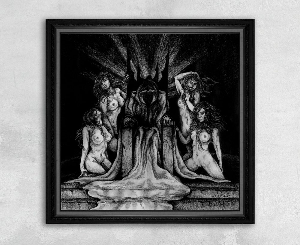 Evil King on Throne with Naked Women Print by Rebecca Magar