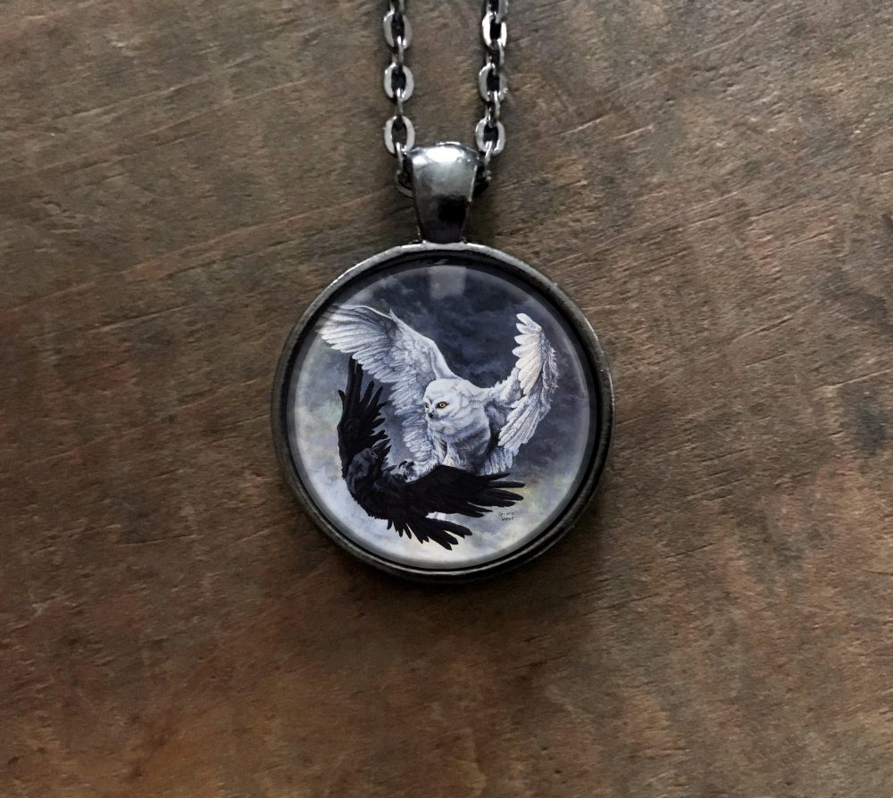 Yin Yang Owl and Raven Necklace