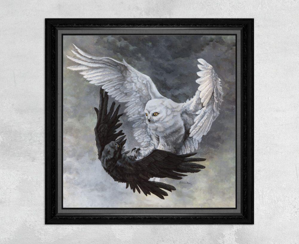 Yin Yang Owl and Raven Print by Rebecca Magar