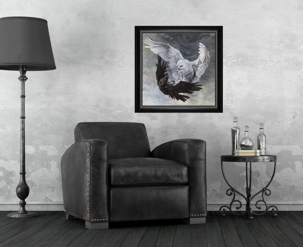 Yin Yang Owl and Raven Print
