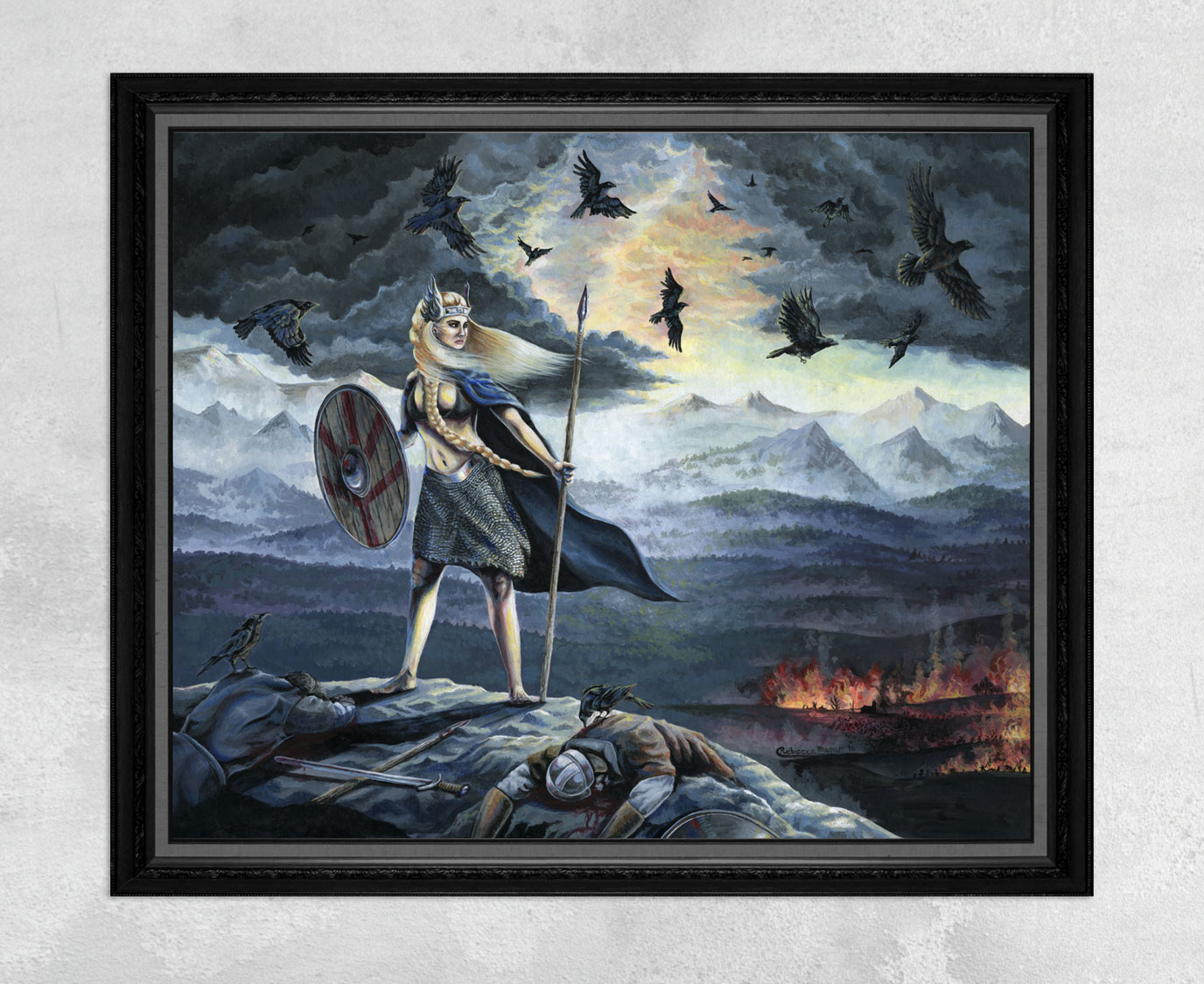 Viking Print of a Valkyrie, Crows and Battle Scene