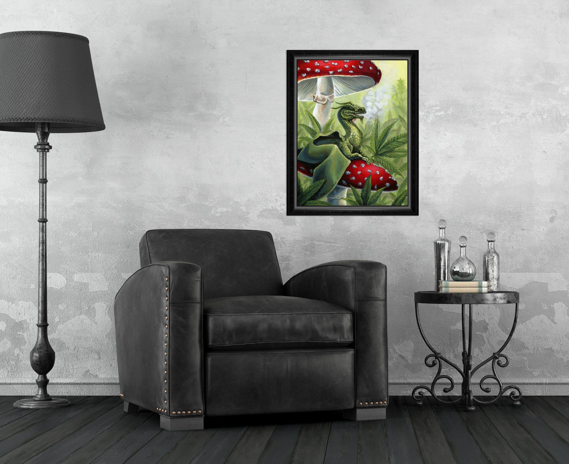 Green Dragon - Dragon Sitting on Toadstool in Cannabis Leaves Print