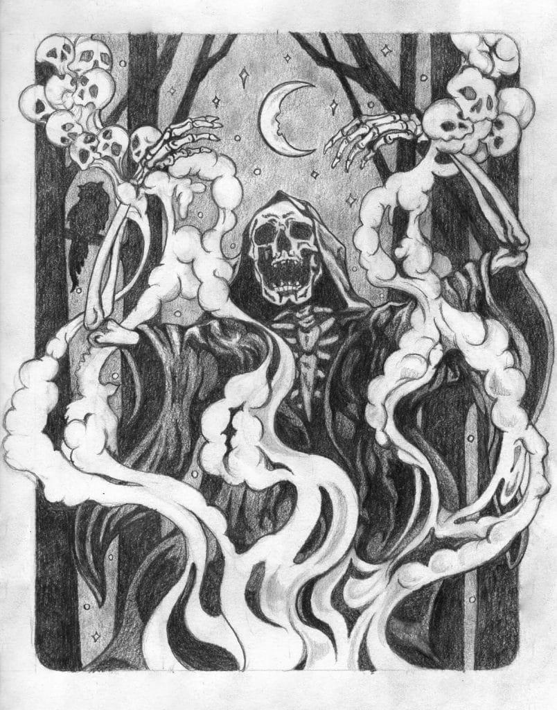 Incantation Drawing by Rebecca Magar - Wailing Wizard