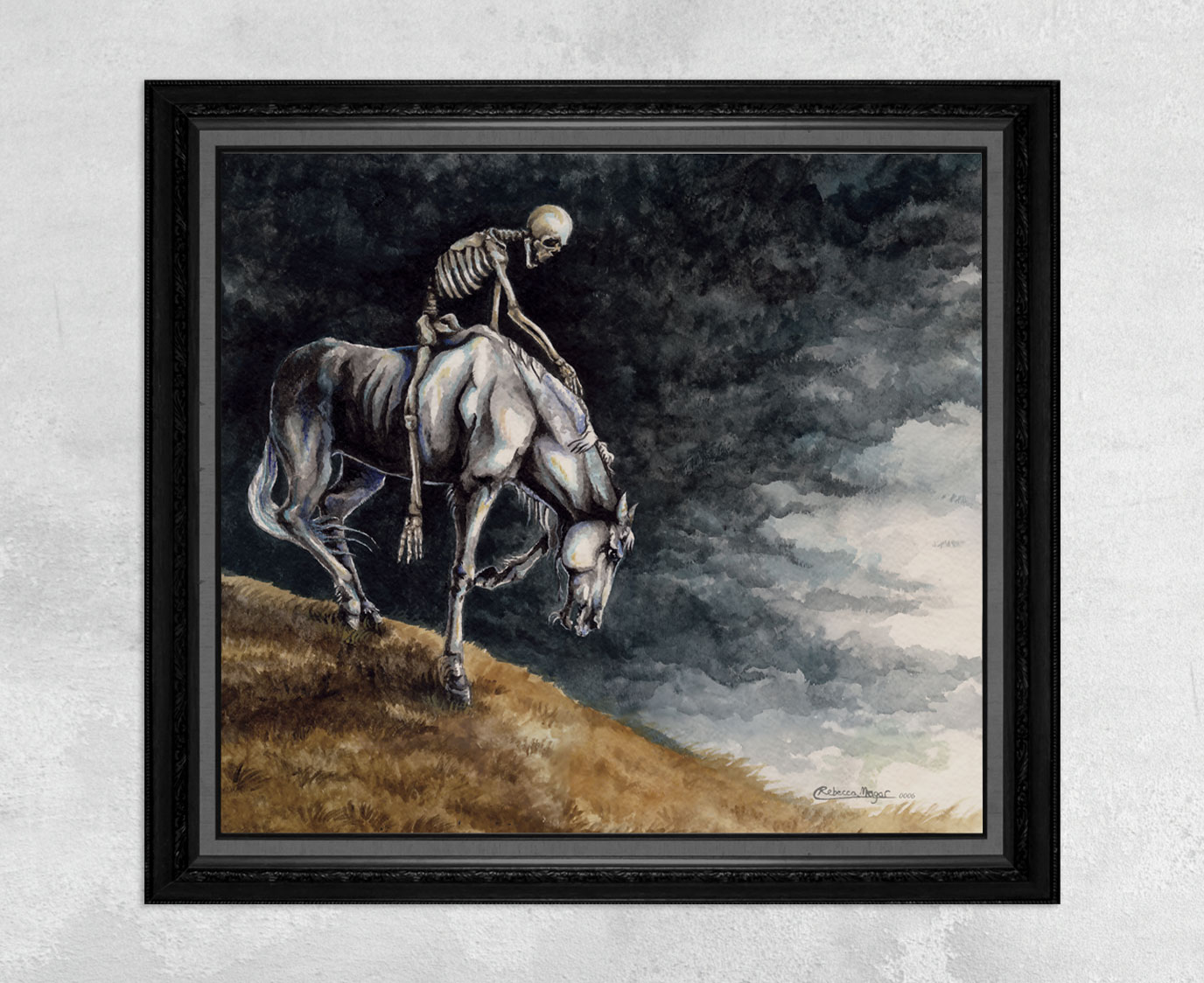 Print of a Skeleton Riding a Pale Horse by Rebecca Magar