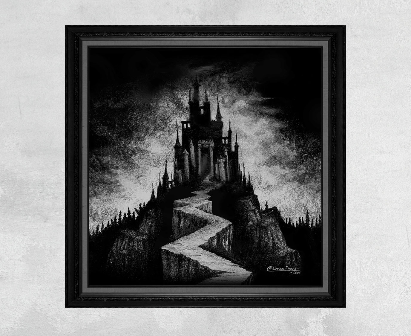 Print of a Black Castle on a Mountain