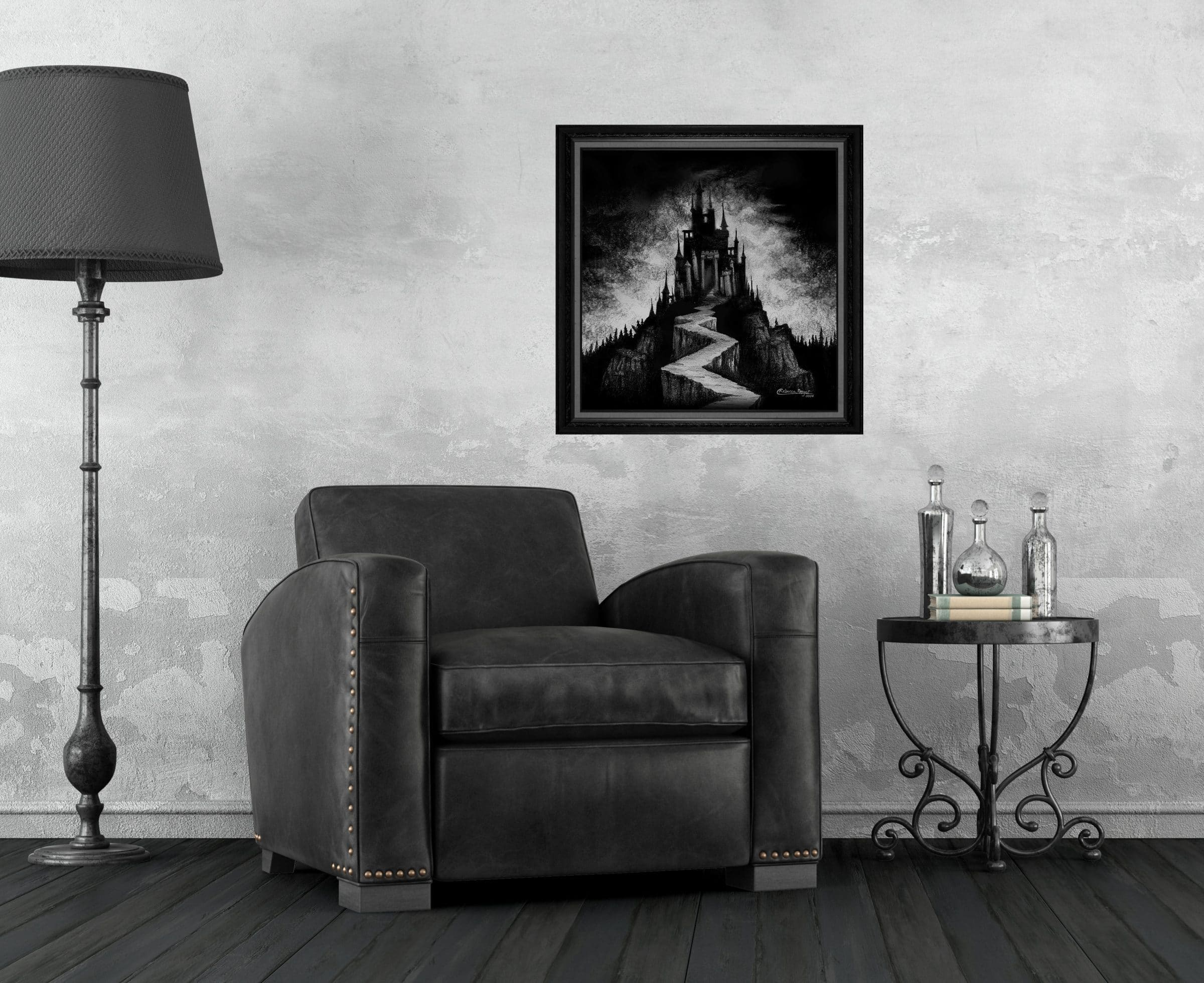 Print of a Dark Vampire Castle on a Mountain with a Pathway