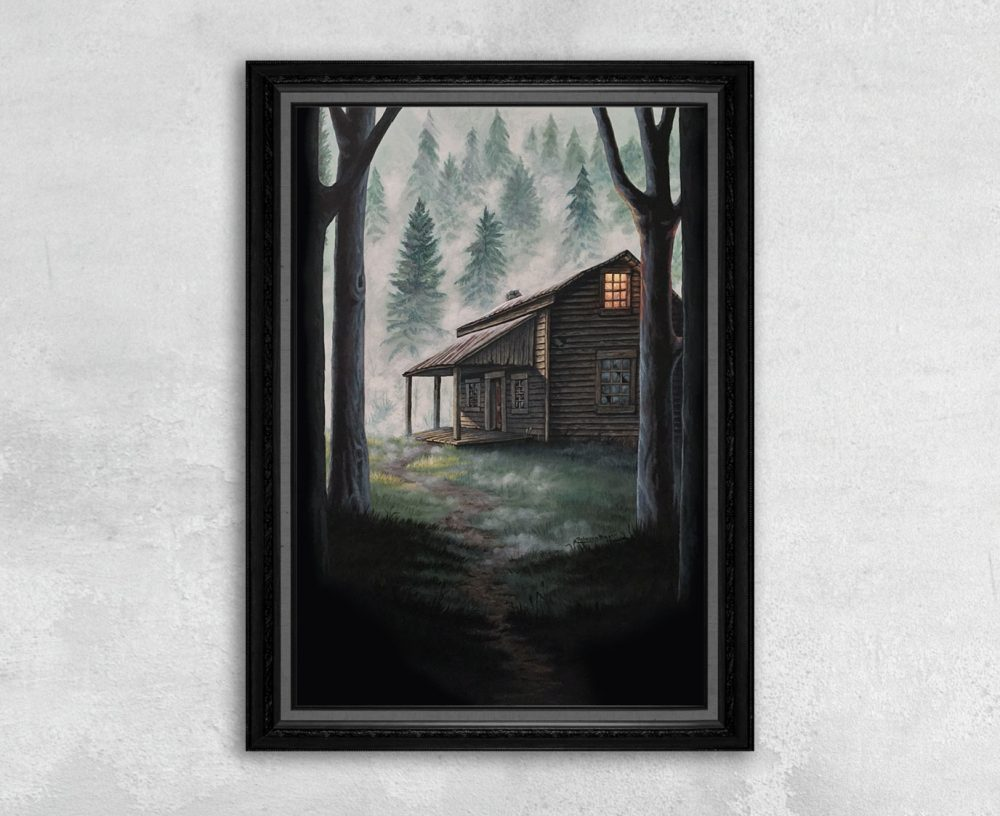 Print of a Cabin in the Woods with a Pathway by Rebecca Magar