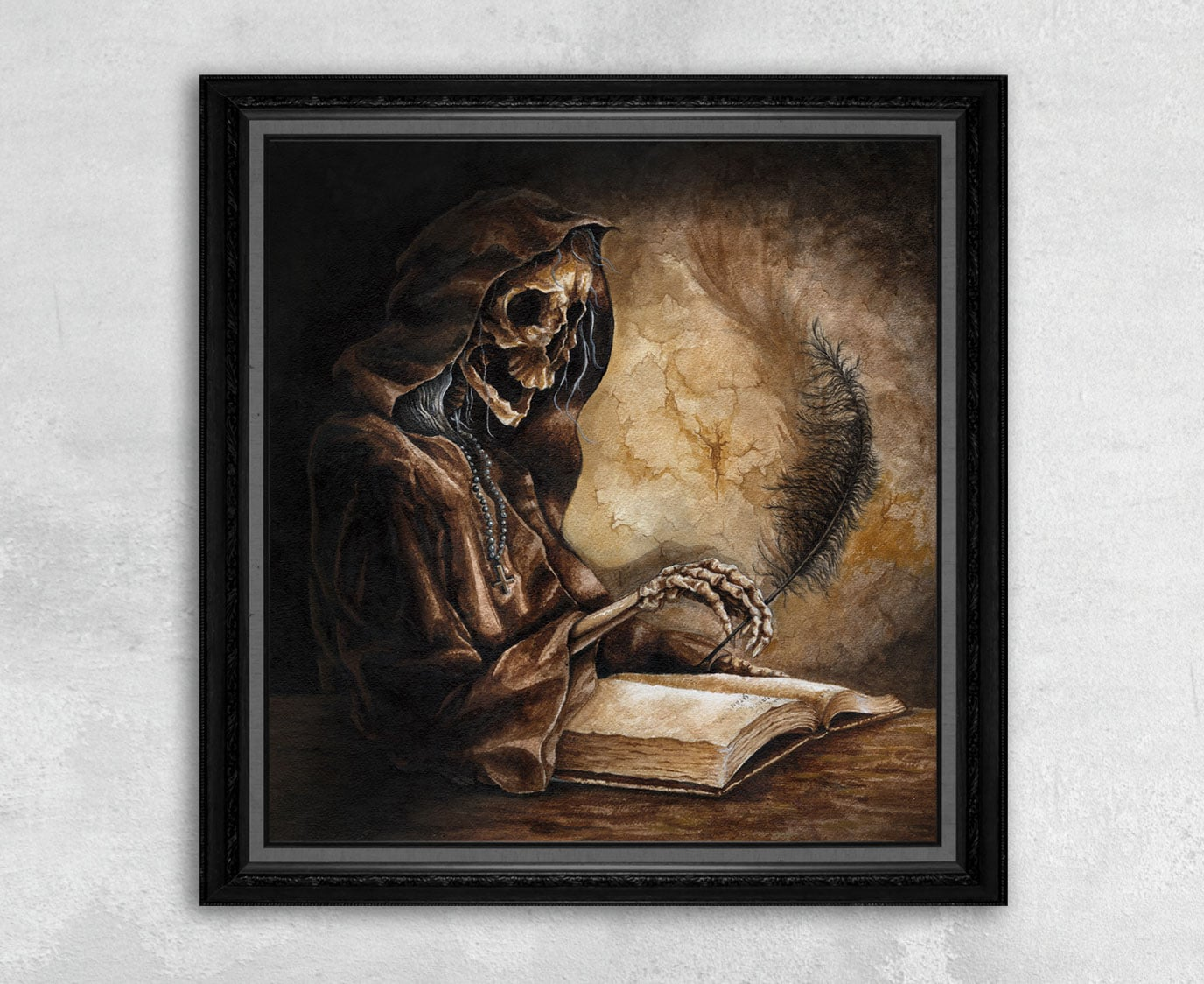 Print of a Skeleton Scribe Writing in a Satanic Bible by Rebecca Magar