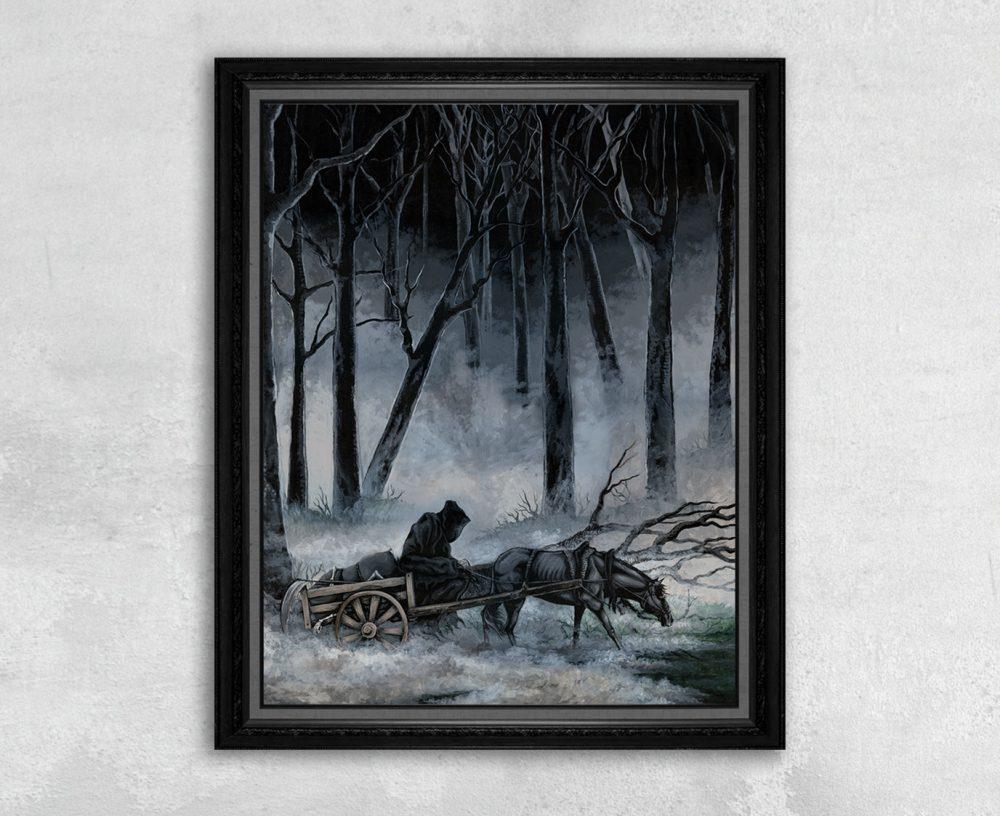 Print of a Grim Reaper on a Horse Drawn Wagon Riding through a Foggy Forest
