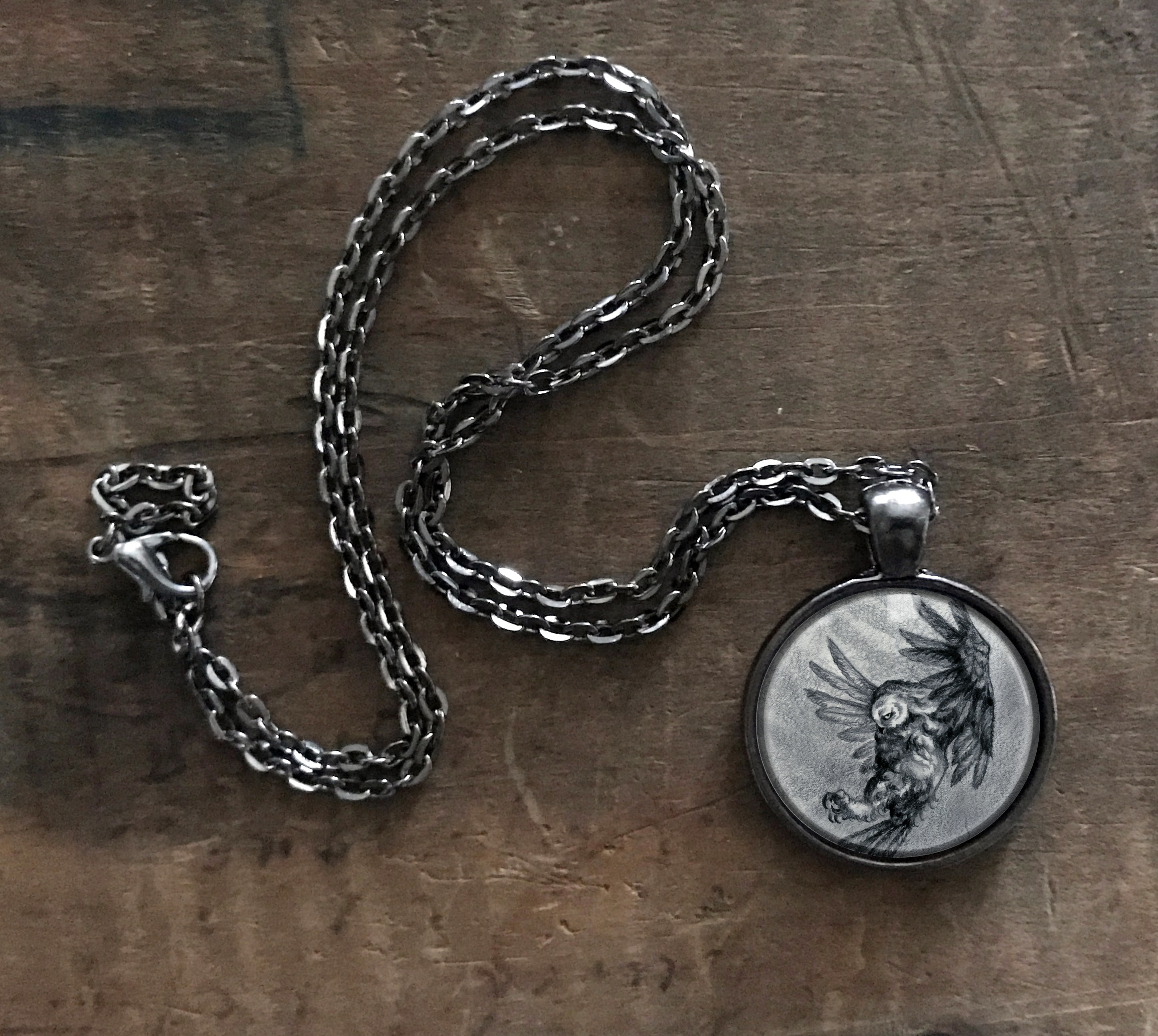 Gray Owl Necklace