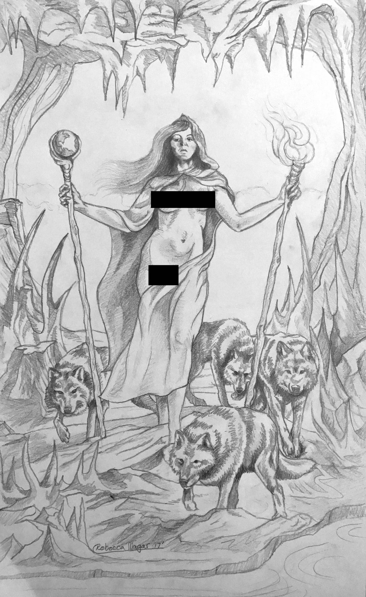 Two of Wands Drawing