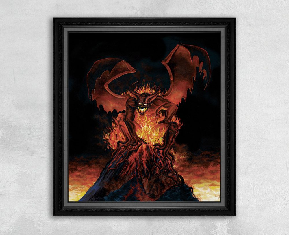 Wrath of Typhon - Print of a Burning Demon on a Volcano