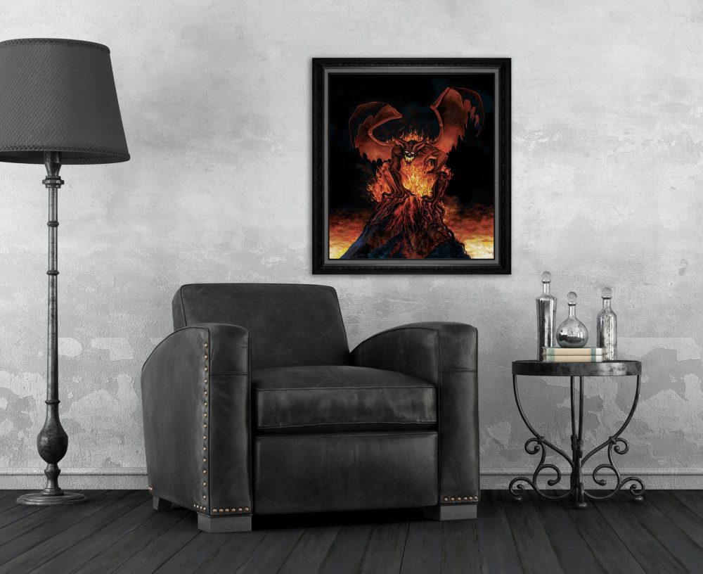 Print of a Fiery Monster on top of a Volcano