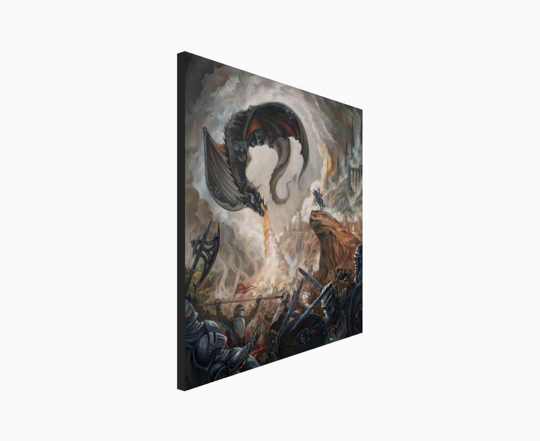 High Command - Black Dragon and Battle Scene Canvas Print by Rebecca Magar
