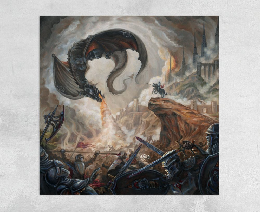 High Command - Black Dragon and Battle Scene Canvas Print by Rebecca Magar