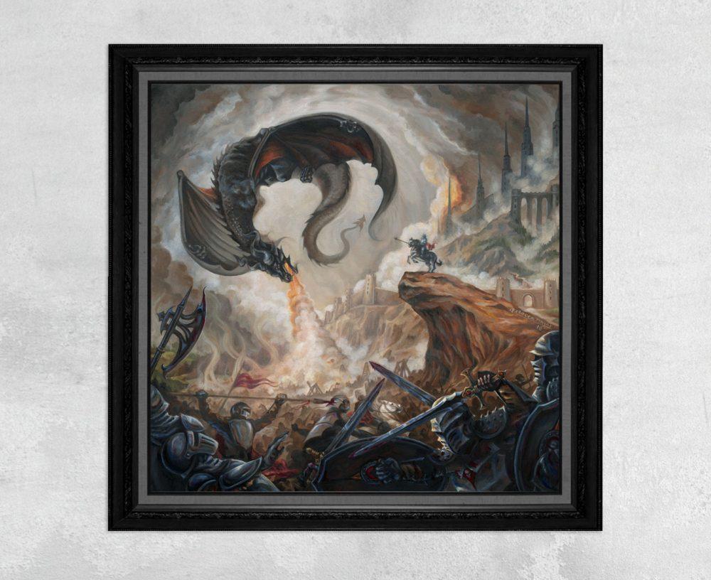 High Command - Black Dragon and Battle Scene Print by Rebecca Magar