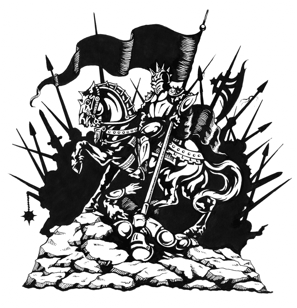 Conqueror - Pen & Ink Drawing for T-Shirt Design by Rebecca Magar a.k.a. Wailing Wizard